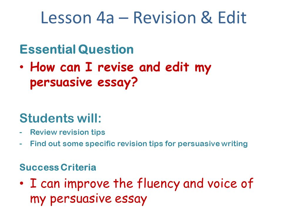 revise and edit my essay Once a piece of writing has been revised and major changes have been made, writers edit to make certain that readers won't be confused or distracted by unintentional errors.