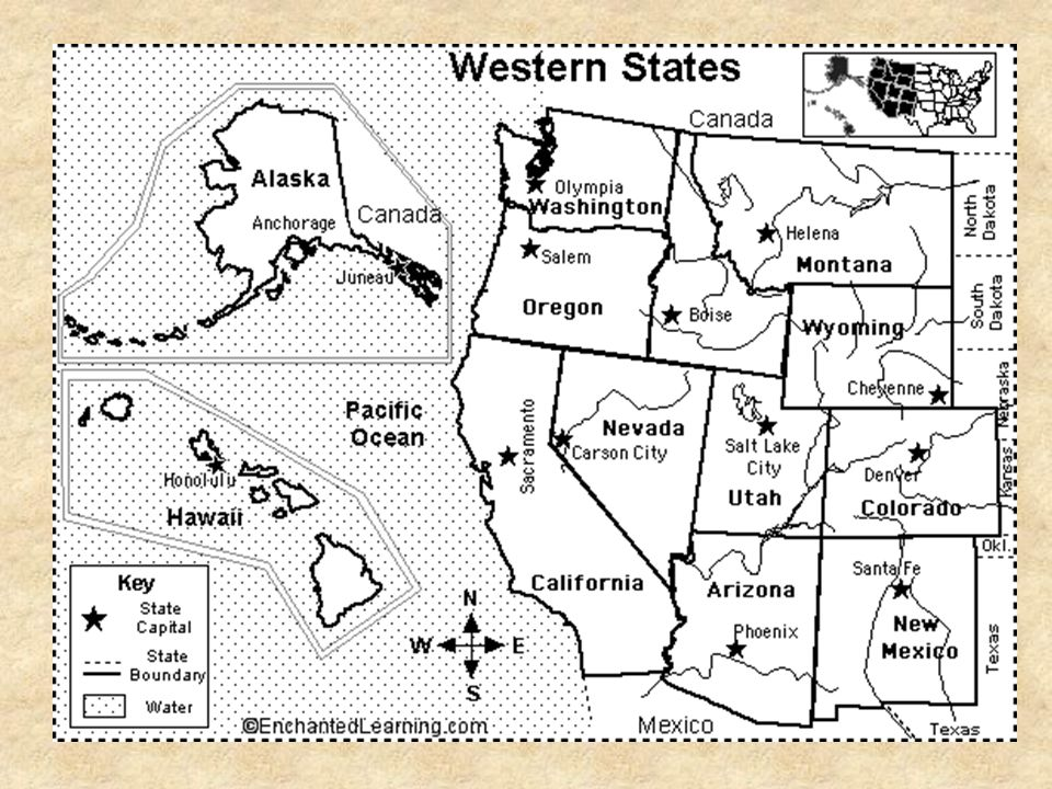The West. The West region of the United States is bordered by the ...