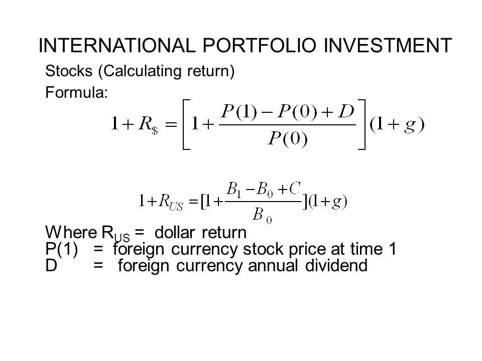 International Investment and Diversification The World