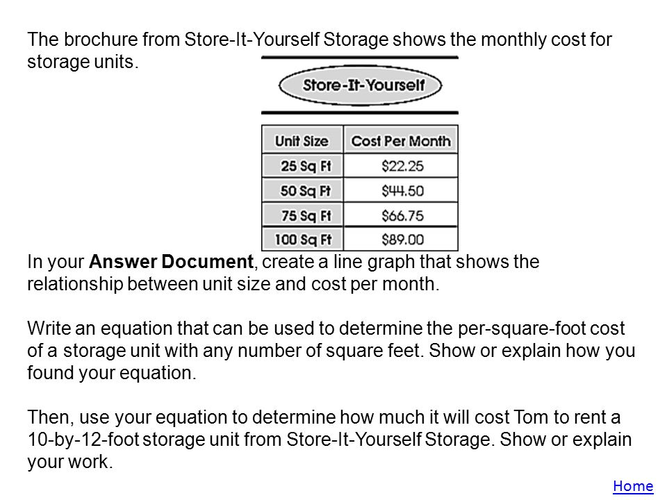 The brochure from Store-It-Yourself Storage shows the monthly cost for storage units  sc 1 st  SlidePlayer & OAA Review Written Responses Sample 1 Sample 2 Sample 3 Sample ppt ...