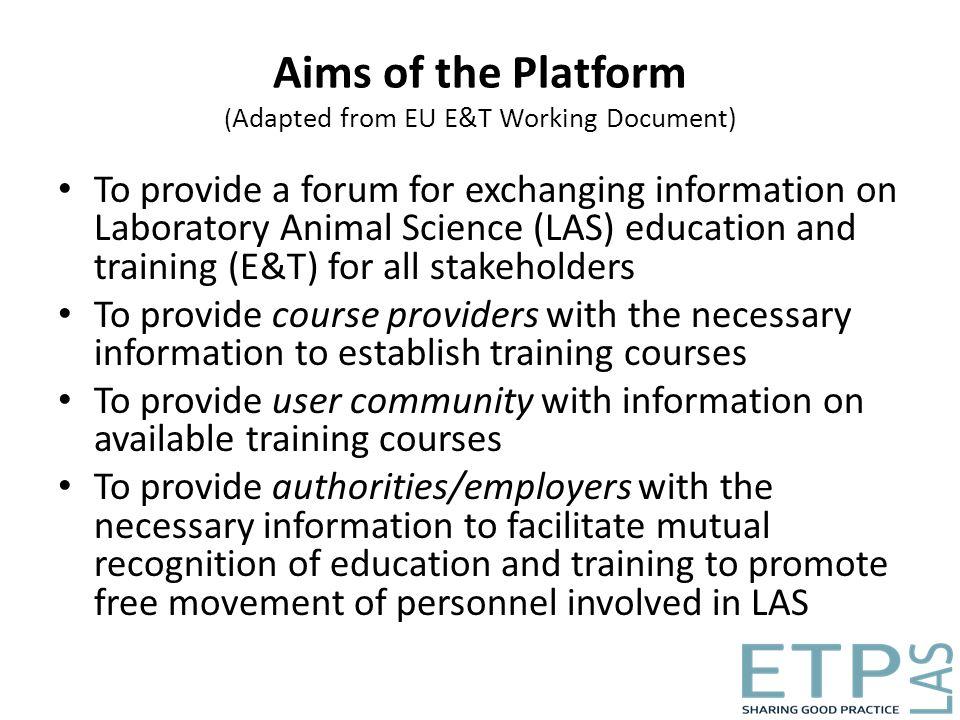 Education & Training Platform for Laboratory Animal Science (ETPLAS
