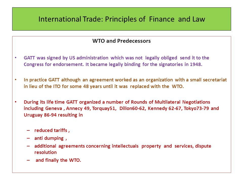 International Trade Principles Of Finance And Law Ppt Download