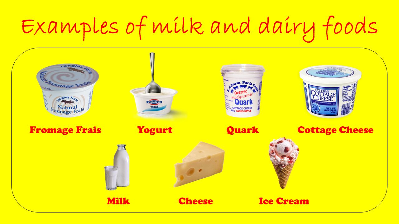 Example of dairy products.