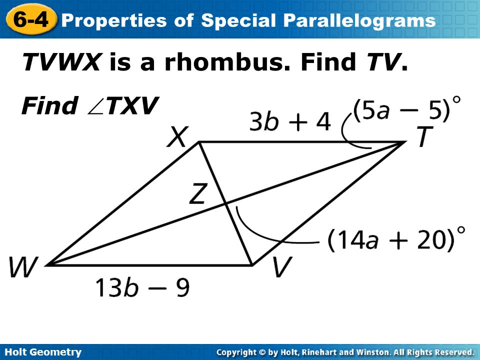 problem solving 6-4 properties of special parallelograms