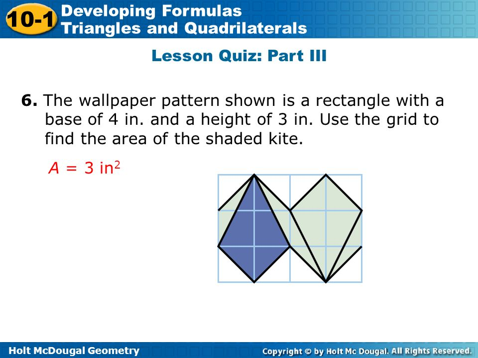 lesson 10-1 problem solving developing formulas for triangles and quadrilaterals