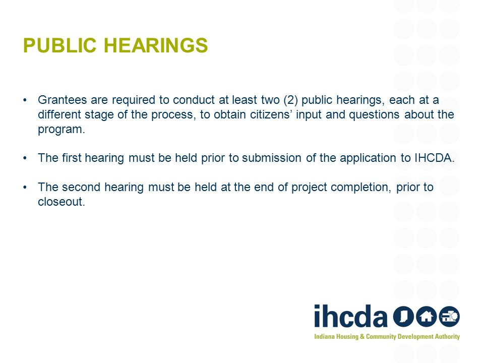 hearings closeout
