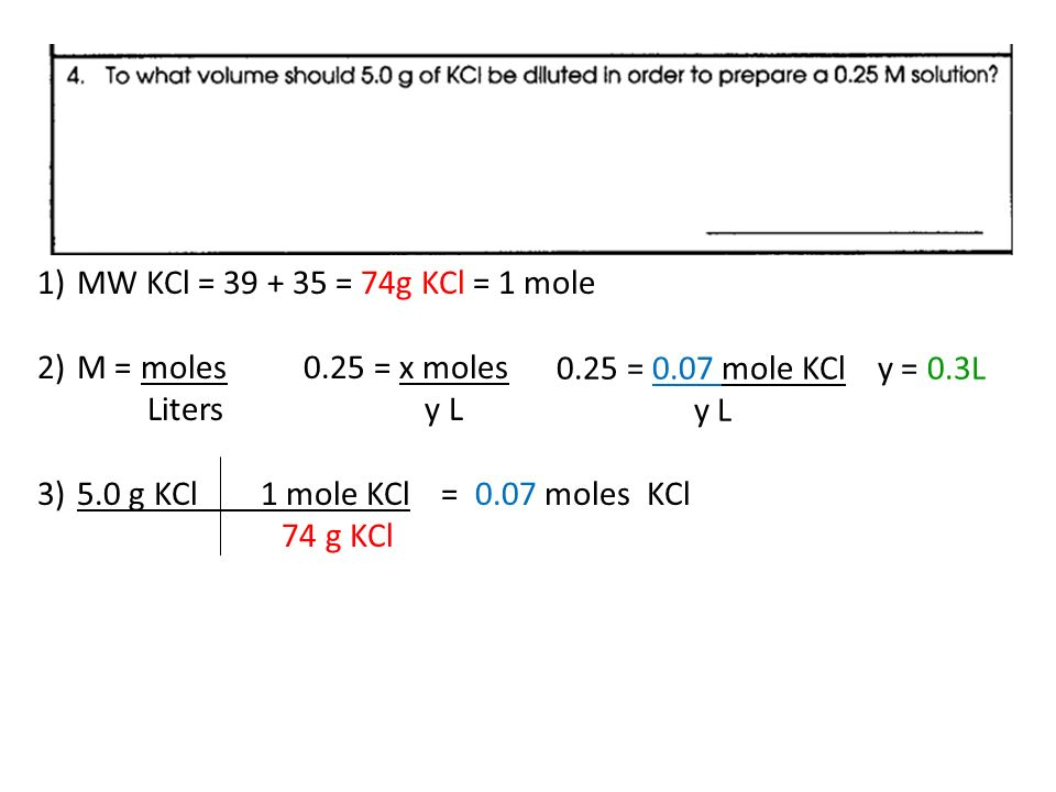 Molarity Problems If Worksheet 1mw Nacl 58g Nacl 1 Mole 2