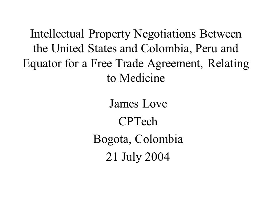 Intellectual Property Negotiations Between The United States And