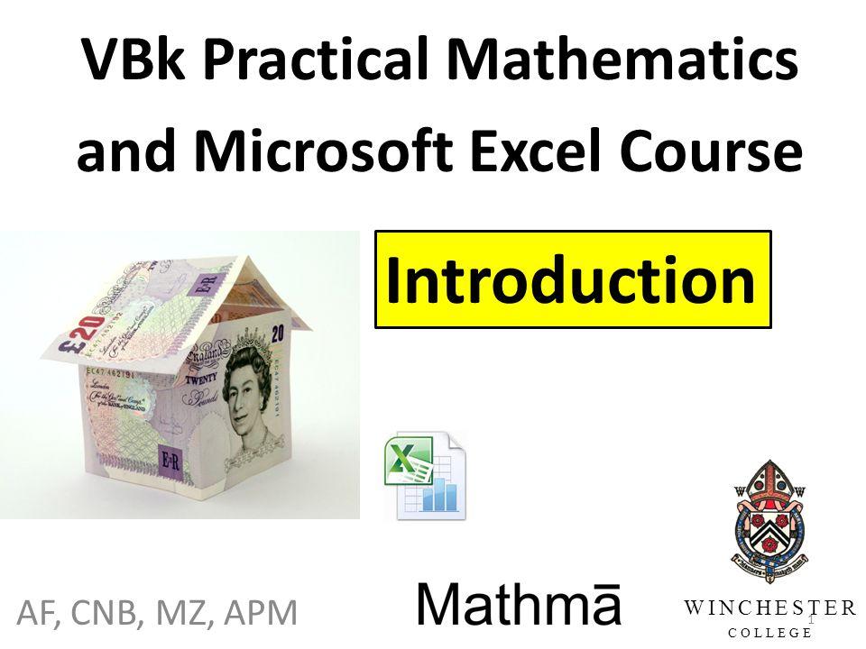 af cnb mz apm vbk practical mathematics and microsoft excel