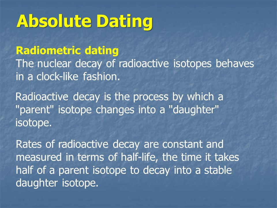 Radiometric dating rate group