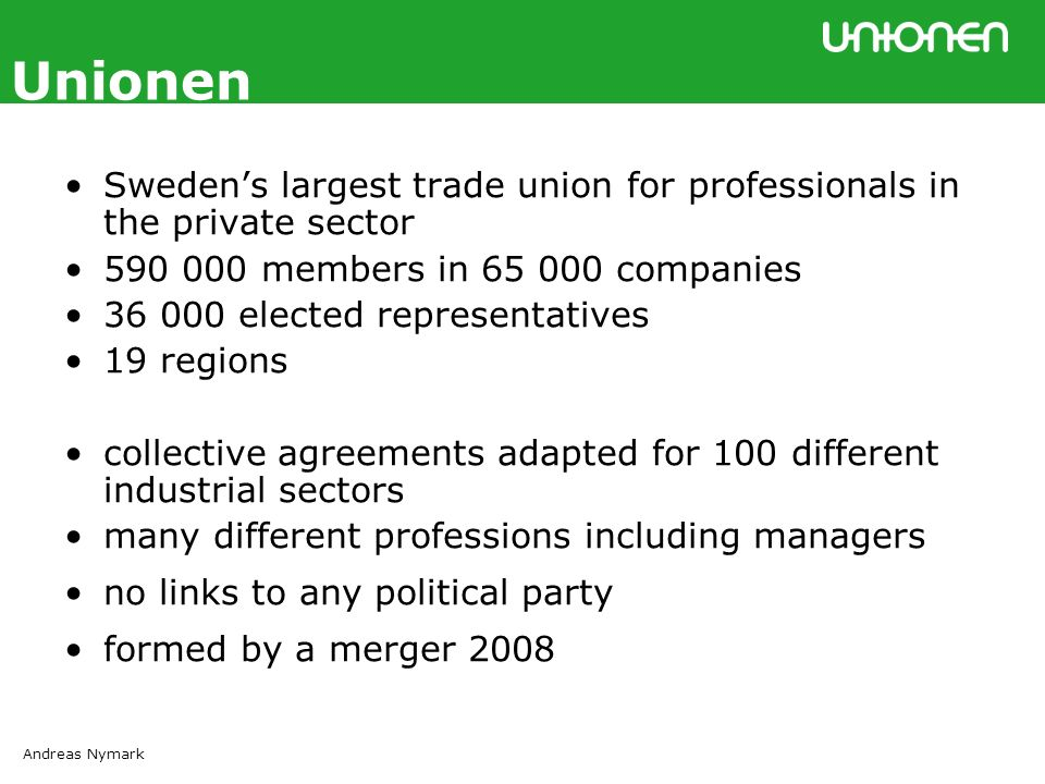 Andreas Nymark Unionen Swedens Largest Trade Union For