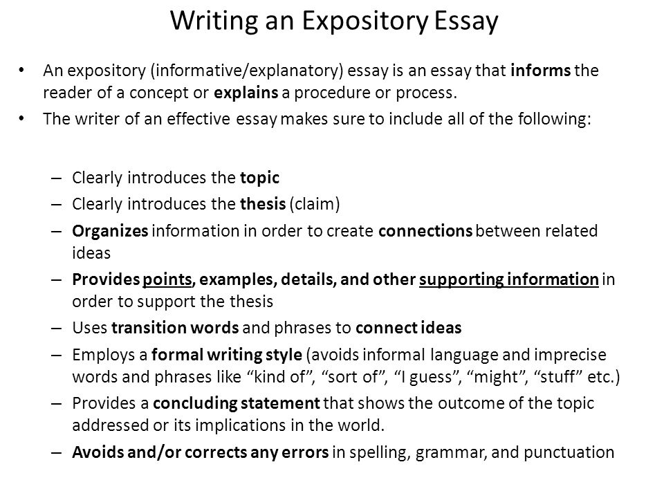 informative essays definition A manual on writing a thesis statement for an informative essay in an informative or explanatory essay, you provide information about a topic by providing facts and evidence to support that information.