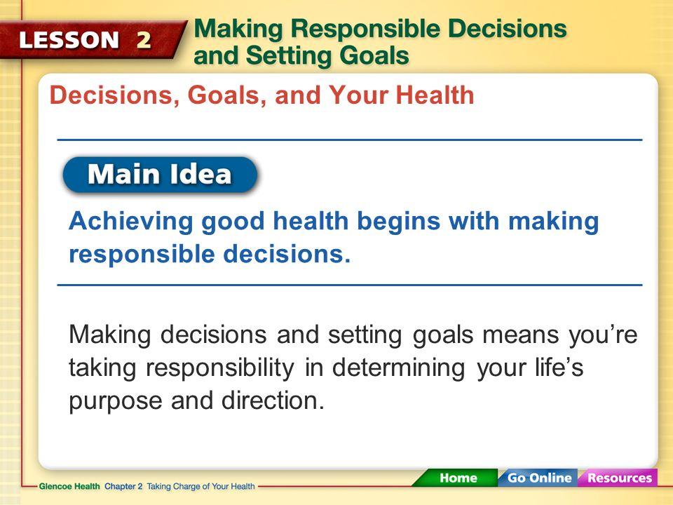 values decision making skills goals short term goal long term goal