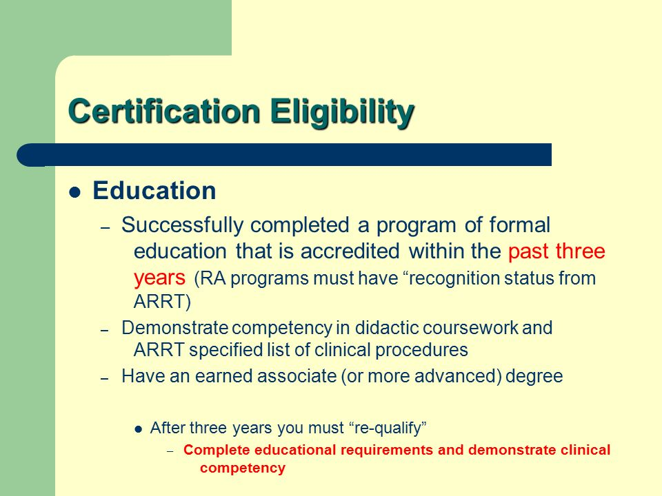 National Certification Initial Recognition Arrt Primary Exams