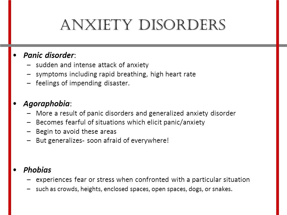 CHAPTER 14 Psychological Disorders Anxiety Disorders  - ppt