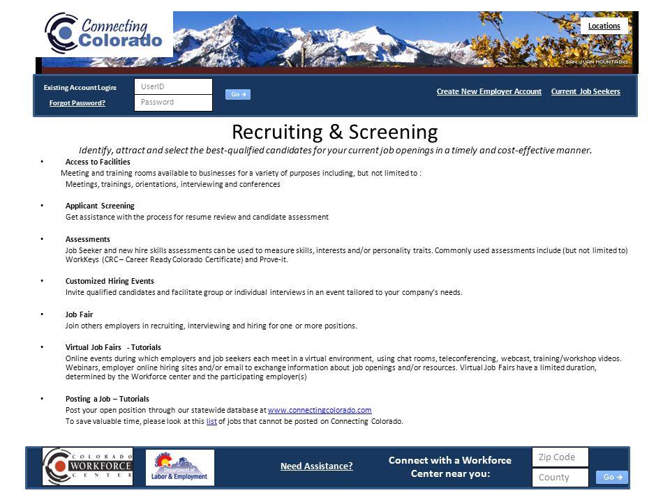 Job seekers login page