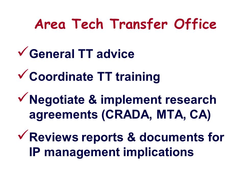 Principles Of Ars Technology Transfer Rob Griesbach Office Of