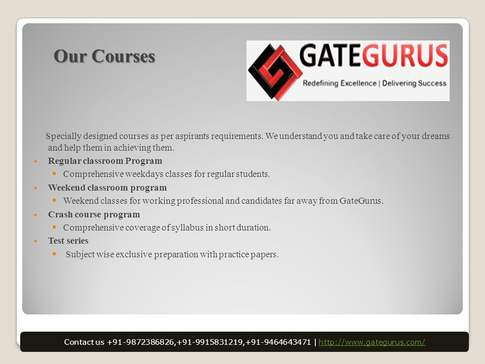 Our Courses Specially designed courses as per aspirants requirements.