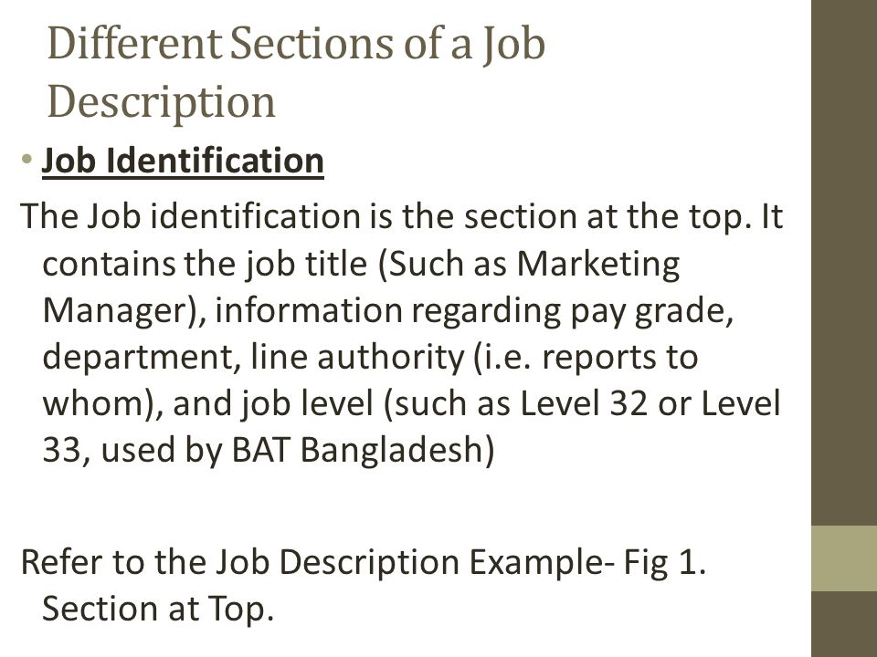 Different Sections of a Job Description Job Identification The Job identification is the section at the top.