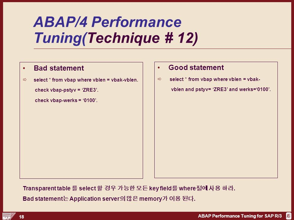ABAP Performance Tuning for SAP R/3 1 ABAP Performance Tuning  - ppt