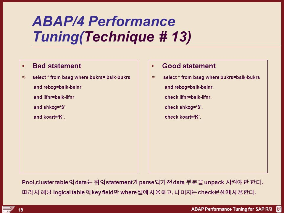 ABAP Performance Tuning for SAP R/3 1 ABAP Performance