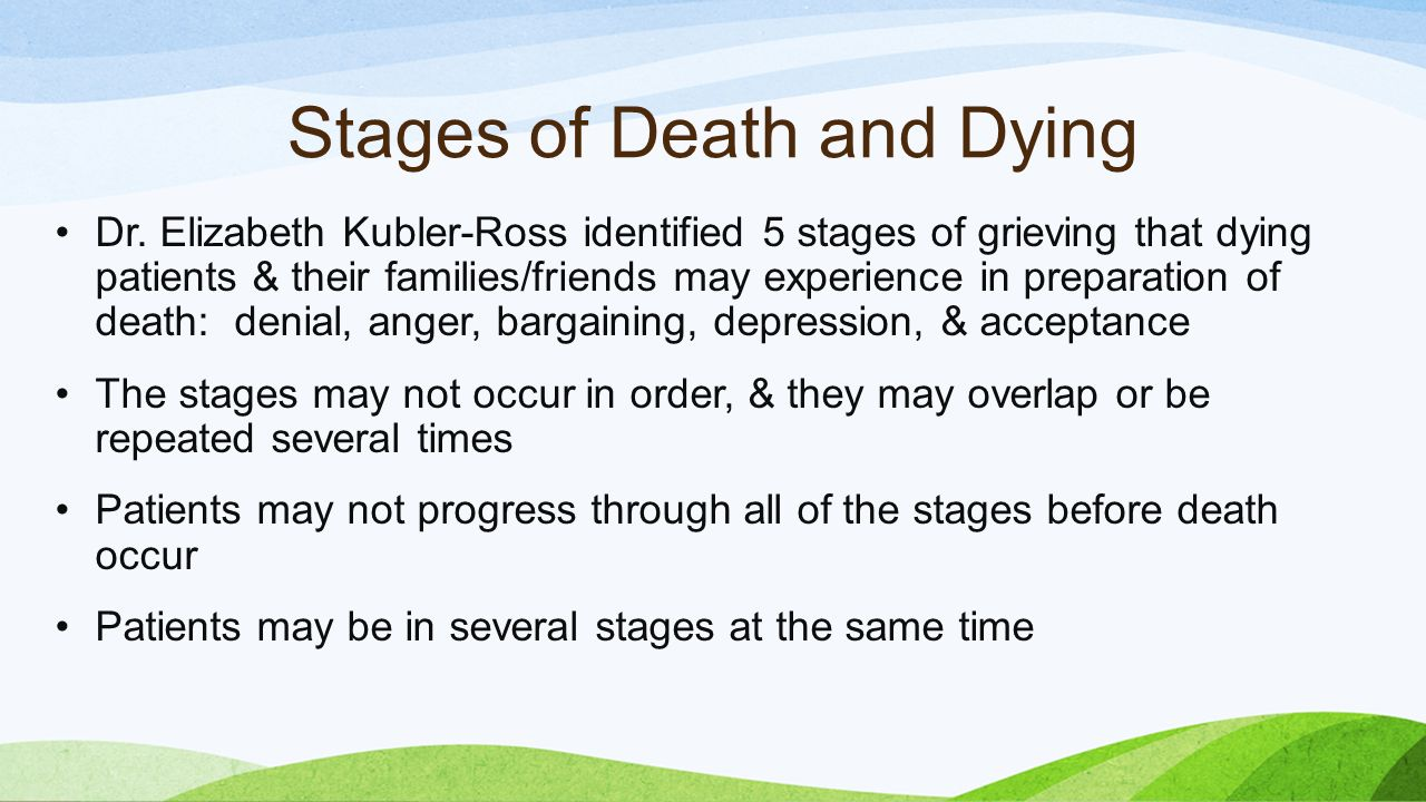 Dying? what are of 5 and the death stages On Death