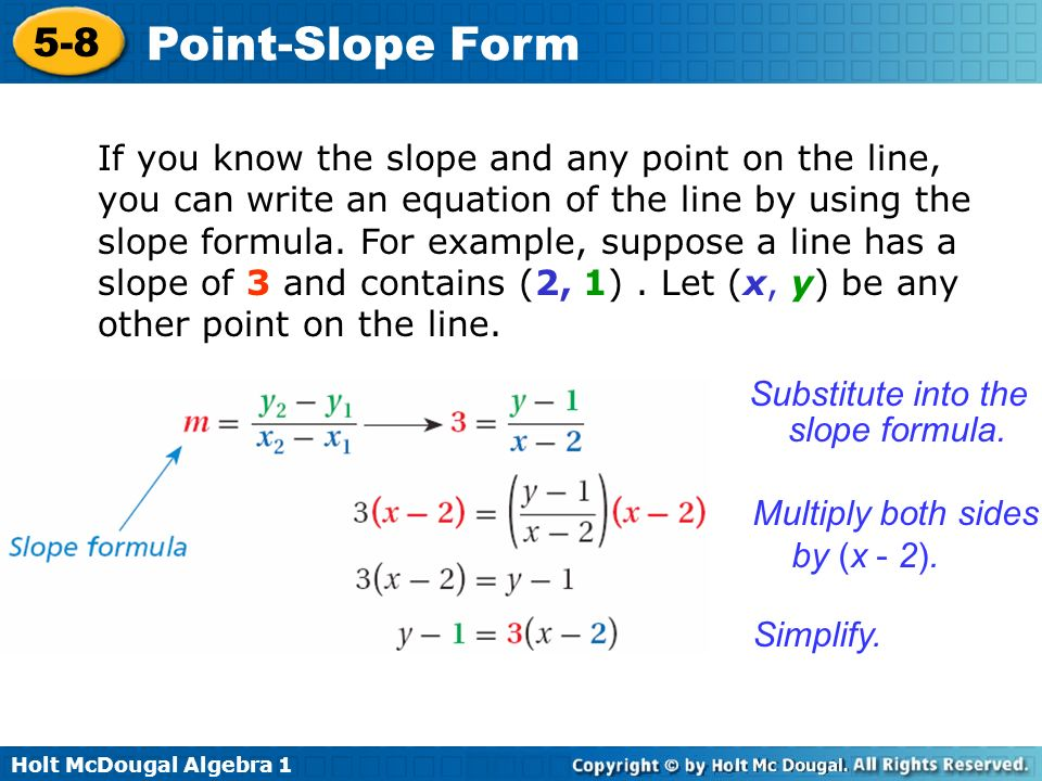 Holt Mcdougal Algebra Point Slope Form Graph A Line And Write A