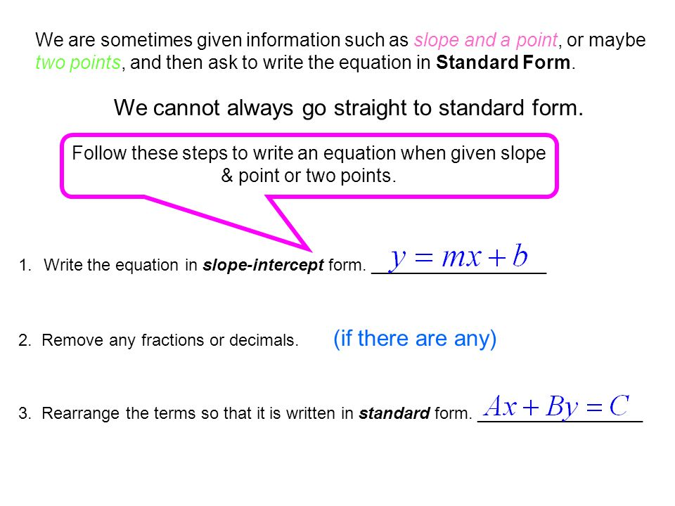 Standard Form Of A Linear Equation Day 2 Section 55b Ppt Download