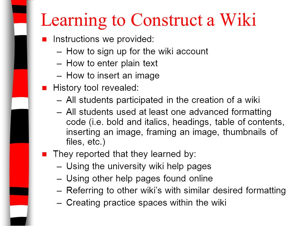 The Nature Of Students Collaboration In The Creation Of A Wiki