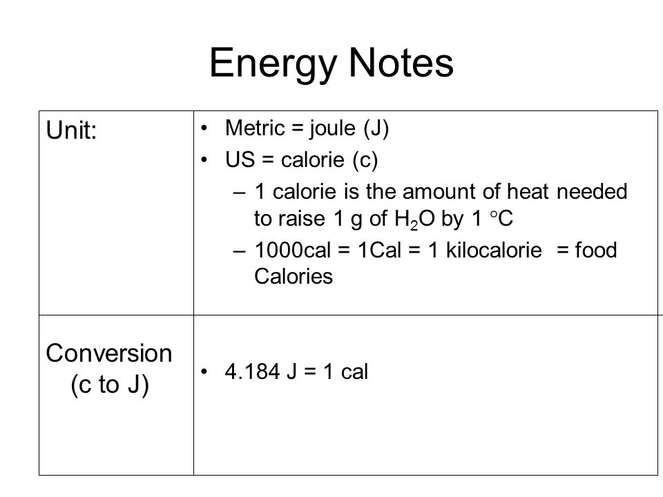 11 Energy Notes Unit Conversion C To