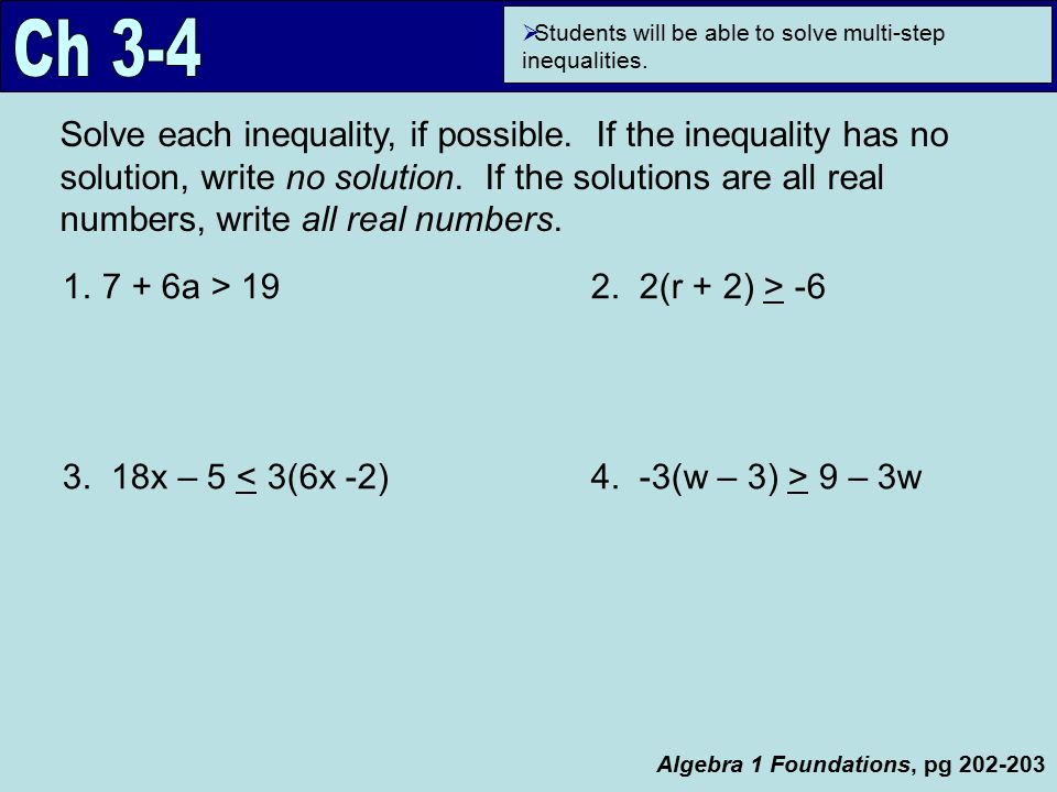 Algebra 1 Foundations, pg 187 Focus Question How is solving an ...