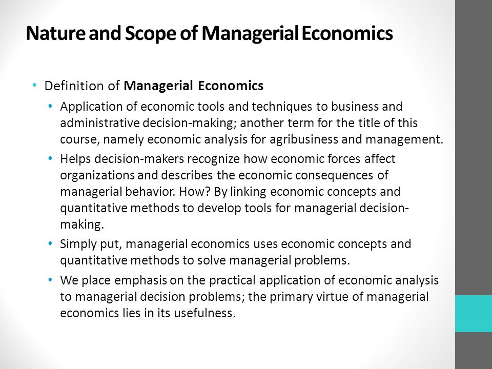 discuss the nature and scope of managerial economics pdf