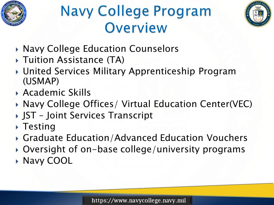 Https://www.navycollege.navy.mil Navy Voluntary Education (VOLED ...