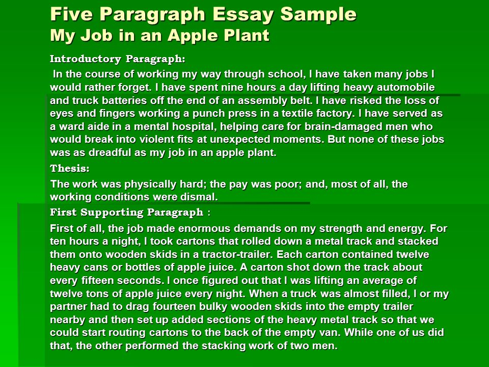 5 paragraph essays The five-paragraph narrative essay is a structure of narrative essay for telling a story that has five paragraphs there are other formats but the five-paragraph format is useful for developing writing skills.