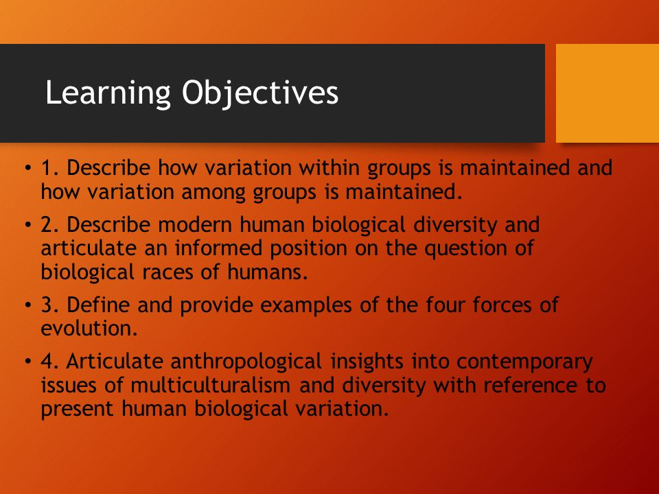Human Variation and Adaptation Part 1  Learning Objectives 1