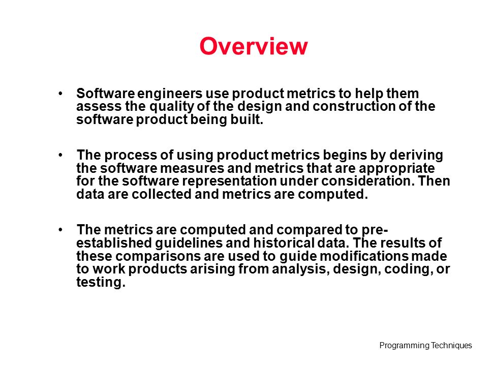 Programming Techniques Lecture 13 Product Metrics Based On Software Engineering A Practitioner S Approach 6 E R S Pressman Software Engineering Fall Ppt Download
