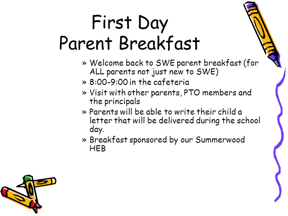 first day parent breakfast welcome back to swe parent breakfast for all parents not