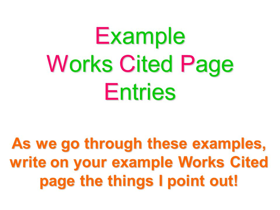 works cited page information mla 7 rules and formatting ppt download