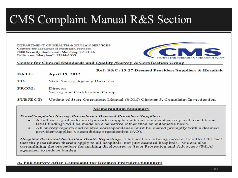 CMS Complaint Manual R&S Section 101