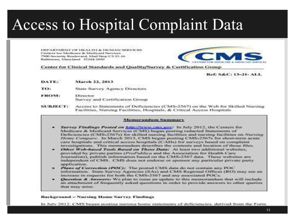 Access to Hospital Complaint Data 13