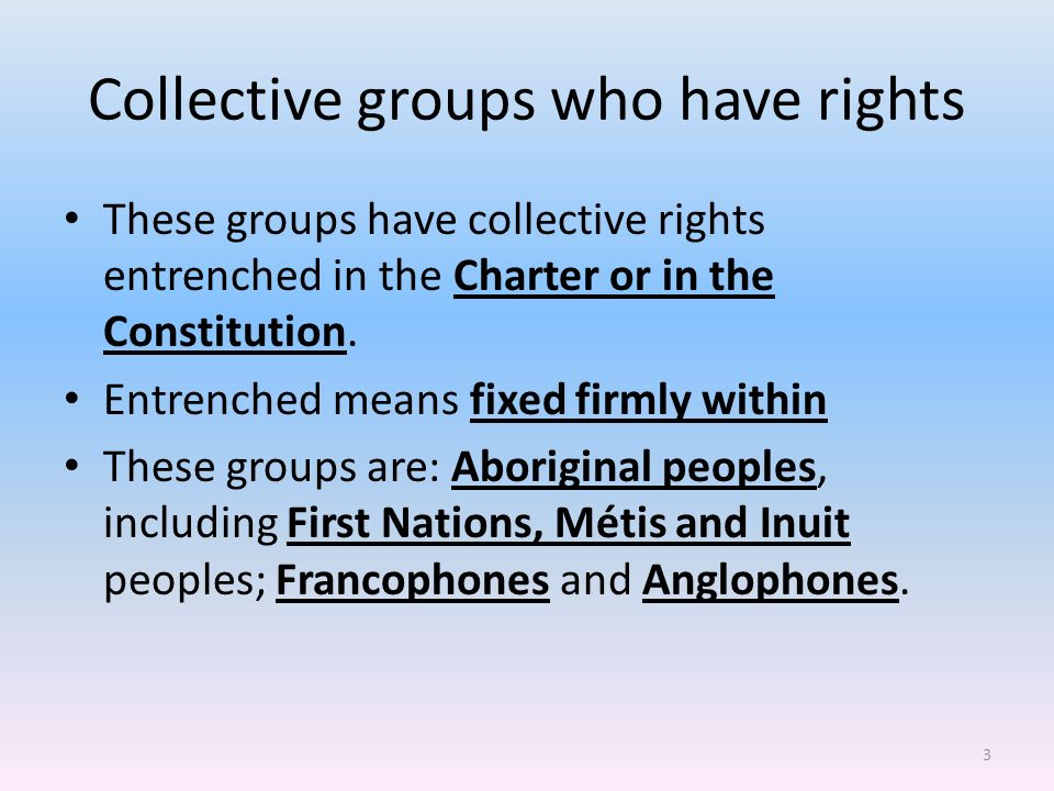 why do some groups have collective rights and not others