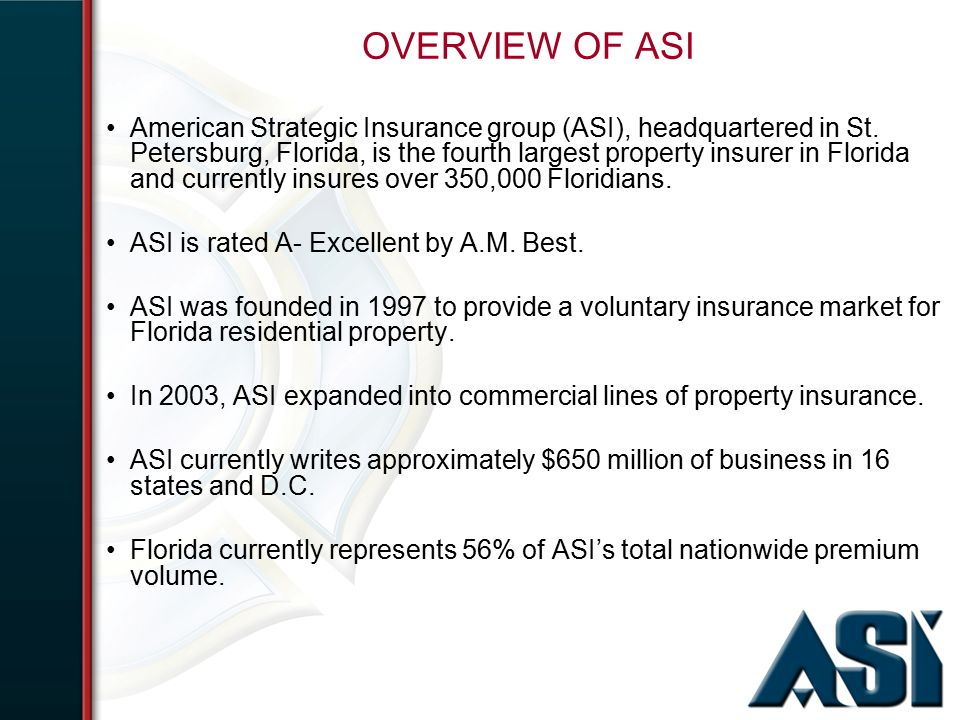 Reinsurance And The Florida Insurance Market Presented By John Auer President Ceo American Strategic Insurance Group Ppt Download