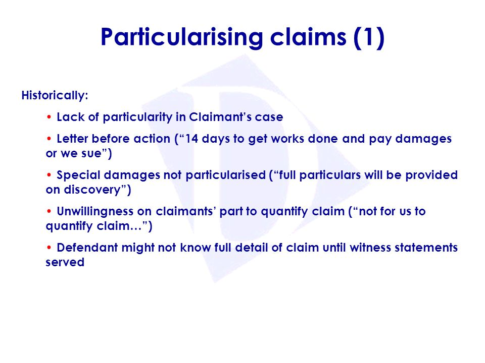 How to particularise a claim — photo 2