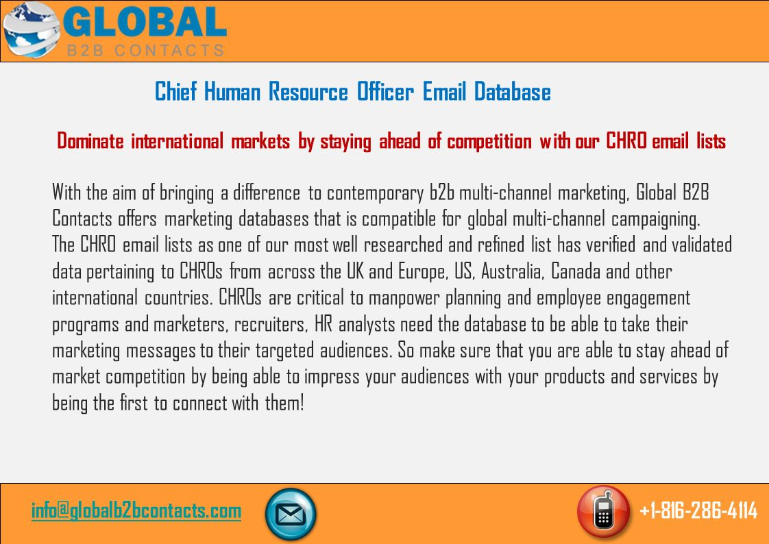 Chief Human Resource Officer & Mailing List Chief Human