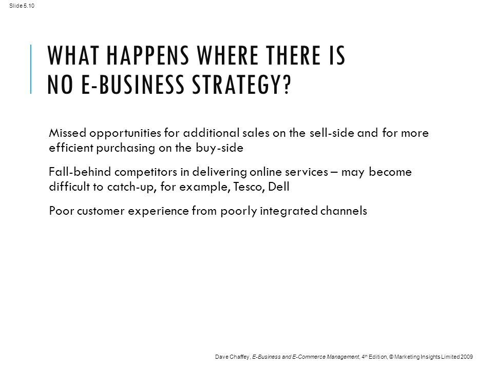 Slide 5.10 Dave Chaffey, E-Business and E-Commerce Management, 4 th Edition, © Marketing Insights Limited 2009 WHAT HAPPENS WHERE THERE IS NO E-BUSINESS STRATEGY.