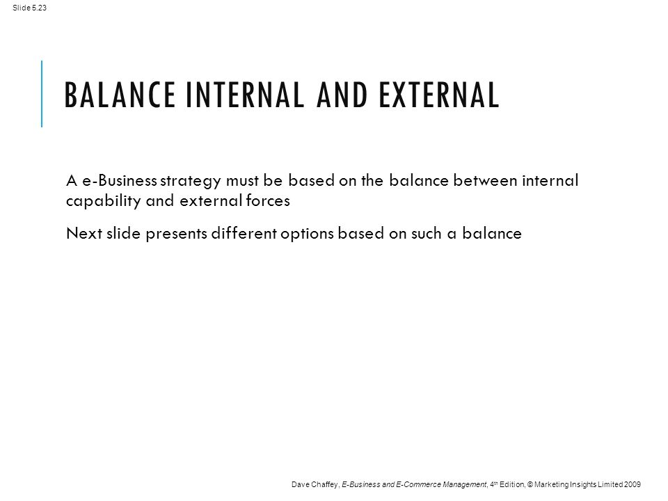 Slide 5.23 Dave Chaffey, E-Business and E-Commerce Management, 4 th Edition, © Marketing Insights Limited 2009 BALANCE INTERNAL AND EXTERNAL A e-Business strategy must be based on the balance between internal capability and external forces Next slide presents different options based on such a balance