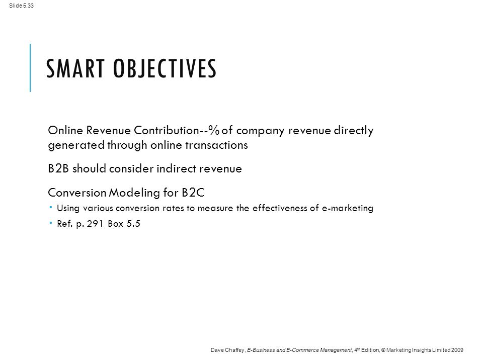Slide 5.33 Dave Chaffey, E-Business and E-Commerce Management, 4 th Edition, © Marketing Insights Limited 2009 SMART OBJECTIVES Online Revenue Contribution--% of company revenue directly generated through online transactions B2B should consider indirect revenue Conversion Modeling for B2C  Using various conversion rates to measure the effectiveness of e-marketing  Ref.