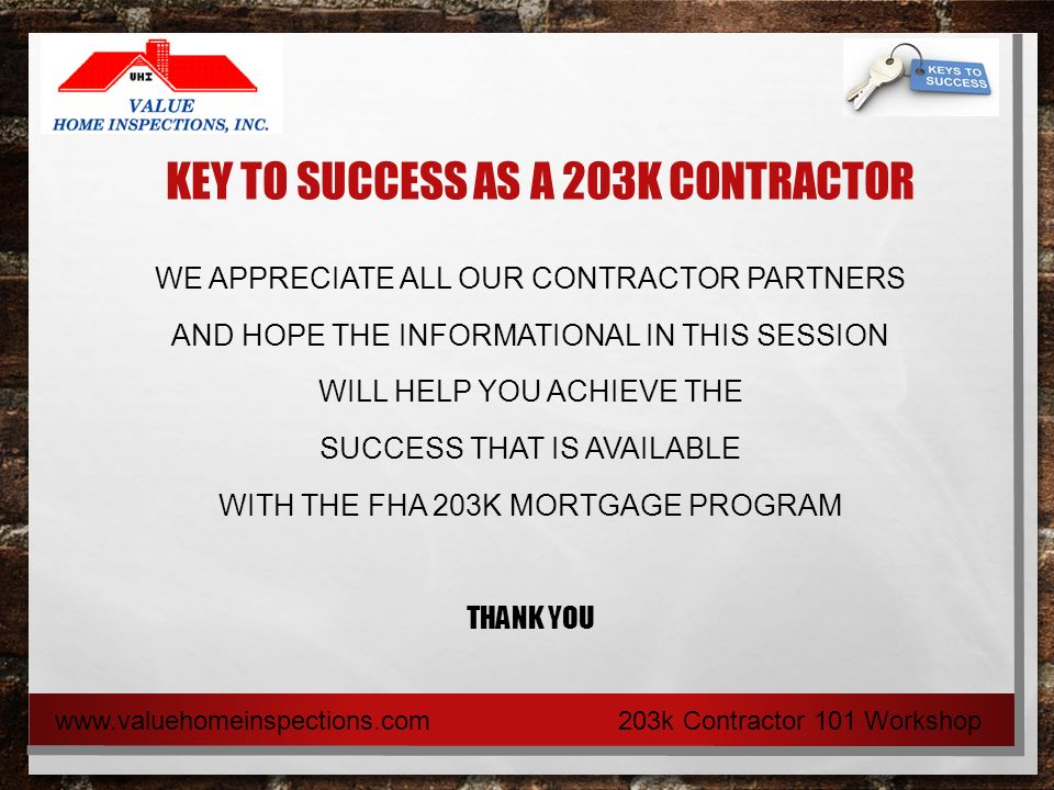 your key to success as a 203k contractor 203k contractor 101 rh slideplayer com 203K Loan Fees
