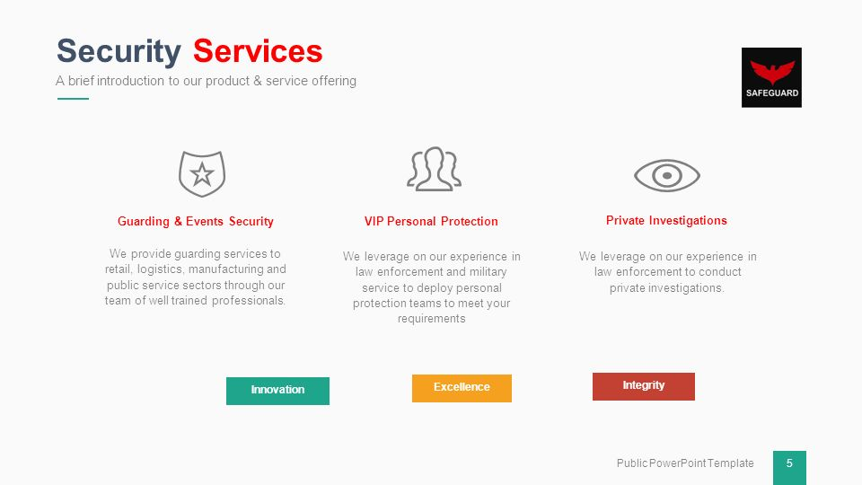 safeguard security group company profile ppt download