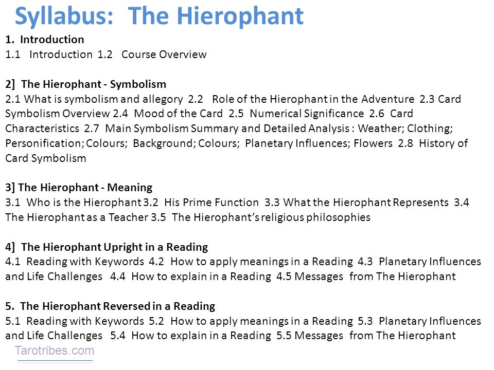 Course Description: The Meaning of The Hierophant In Depth